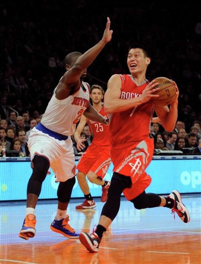 Nov. 14 at Knicks 7 p.m. TV: TNT  Second coming: Jeremy Lin and the Rockets visit Madison Square Garden. The point guard put up 22 points and dished out eight assists in his first game back to New York. Photo: Henry Ray Adams, Associated Press