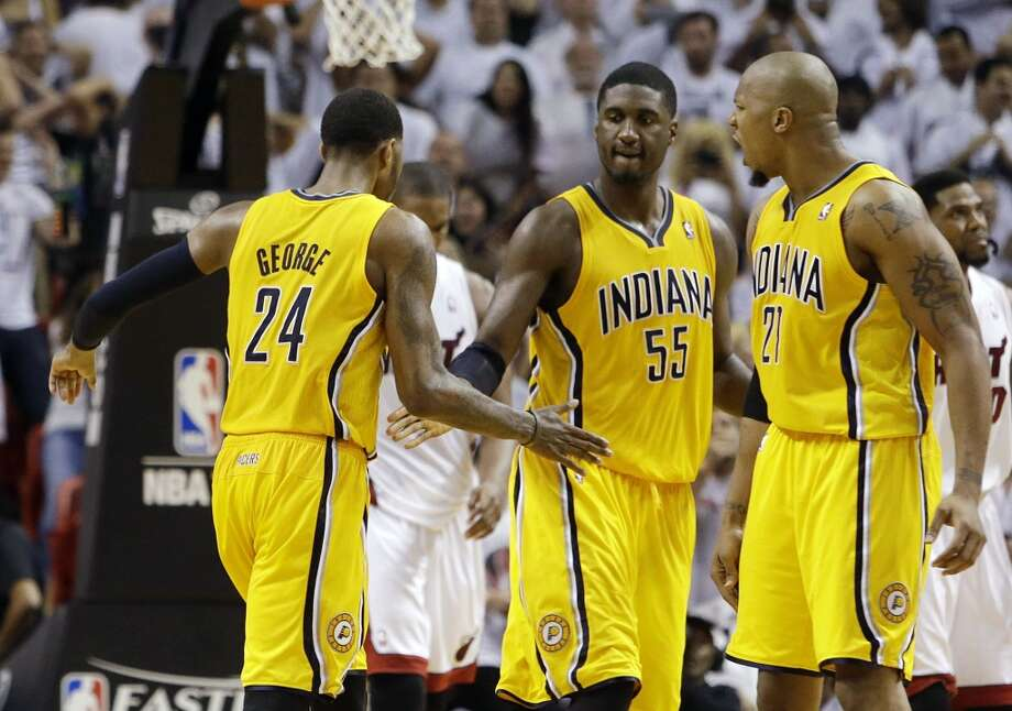March 7 vs. Pacers 8:30 p.m. TV: CSN/ESPN  With Paul George, Roy Hibbert, David West and former Rockets Luis Scola (not pictured), Indiana should be one of the league's top teams once again. Photo: Lynne Sladky, Associated Press