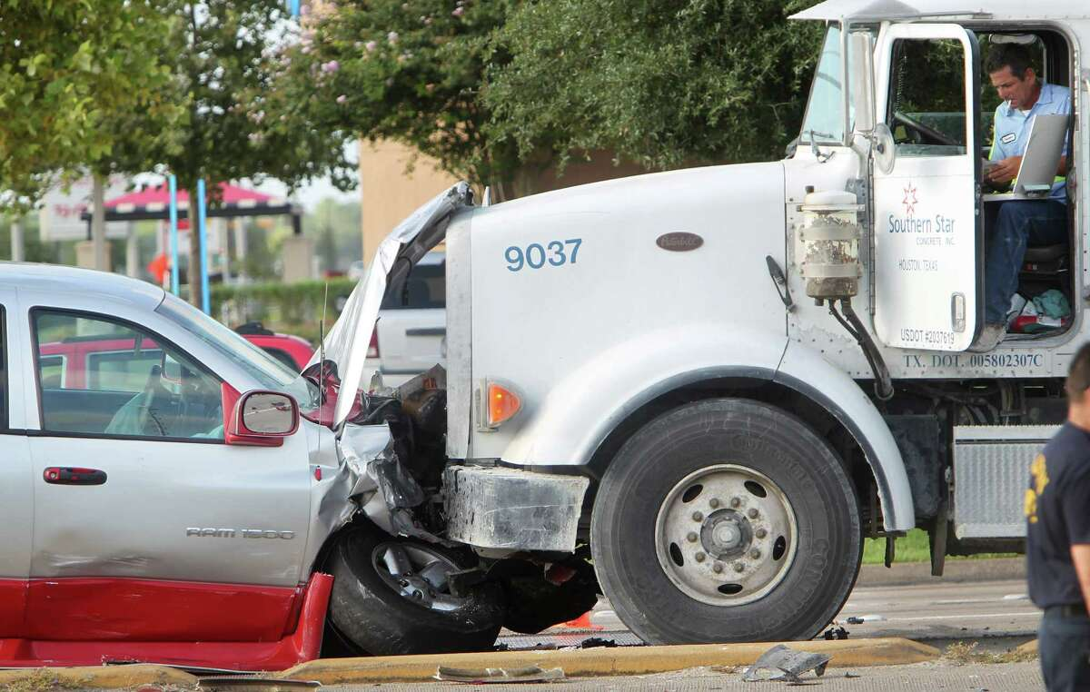 The driver of this pickup was taken to Hermann Southwest Hospital on Tuesday after hitting a cement truck head-on at Westheimer and Eldridge Parkway while fleeing from police. The driver of a third vehicle died.