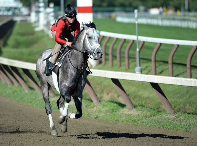 Exercise rider Jake Nelson works Graydar Sunday morning, Aug. 4, 2013, on the main track at Saratoga Race Course in Saratoga Springs, N.Y. (Skip Dickstein/Times Union) Photo: SKIP DICKSTEIN