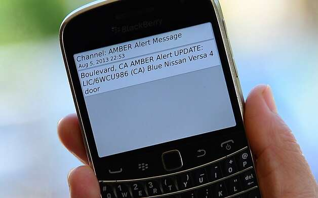 A cellphone displays the Amber Alert issued late on August 5, 2013 in Los Angeles, California, which marked the first time officials have notified the public of a statewide Amber Alert through their cellphones.  Photo: Frederic J. Brown, AFP/Getty Images