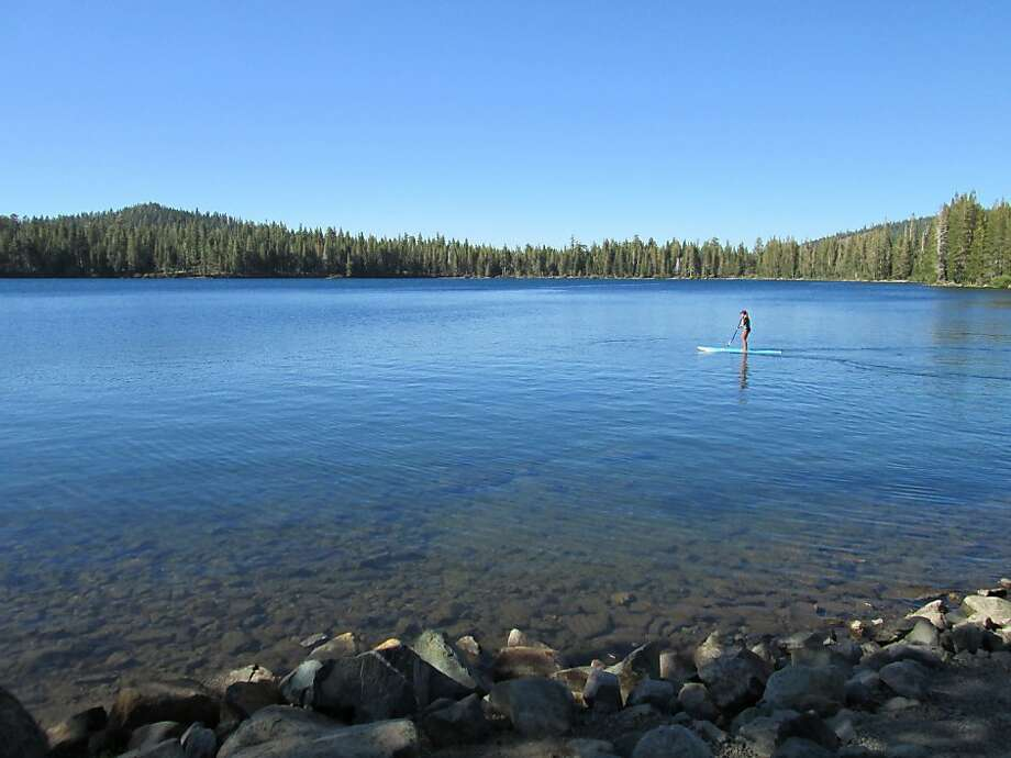 The east end of Gold Lake, sheltered from the west wind, has flat water for stand-up paddleboarding. Photo: Tom Stienstra, The Chronicle