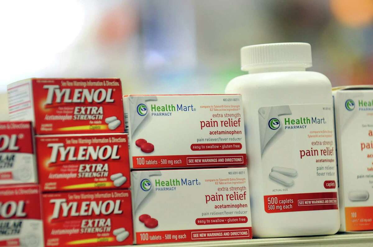 Over-the-counter products that contain acetaminophen on Tuesday, Aug. 6, 2013, at Marra's Pharmacy in Cohoes, N.Y. (Cindy Schultz / Times Union)