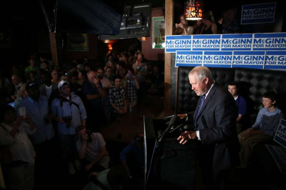 Seattle Mayor Mike McGinn addresses supporters at 95 Slide in Seattle's Capitol Hill neighborhood on Thursday, August 6, 2013. The first round of election returns had McGinn still in the race with Senator Ed Murray for Seattle Mayor. Photo: JOSHUA TRUJILLO, SEATTLEPI.COM