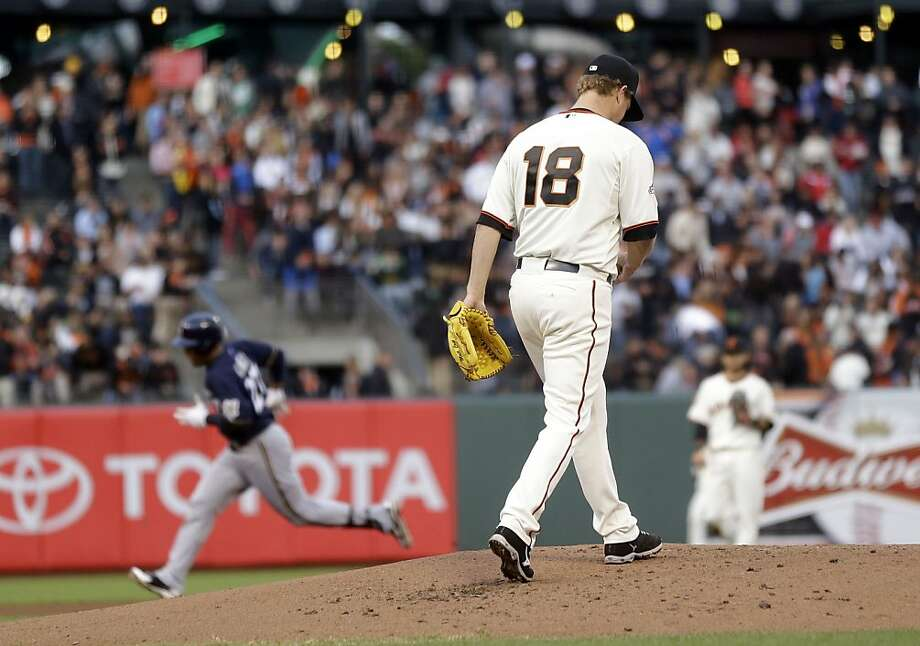 Matt Cain had gone six games without allowing a homer before giving up one to Milwaukee's Carlos Gomez in the second. Photo: Marcio Jose Sanchez, Associated Press