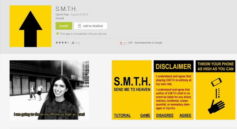 S.M.T.H. (Send Me to Heaven)is a game where you throw your phone into the air for points.  I'd tell you more, but my phone crashed ... into the ground.