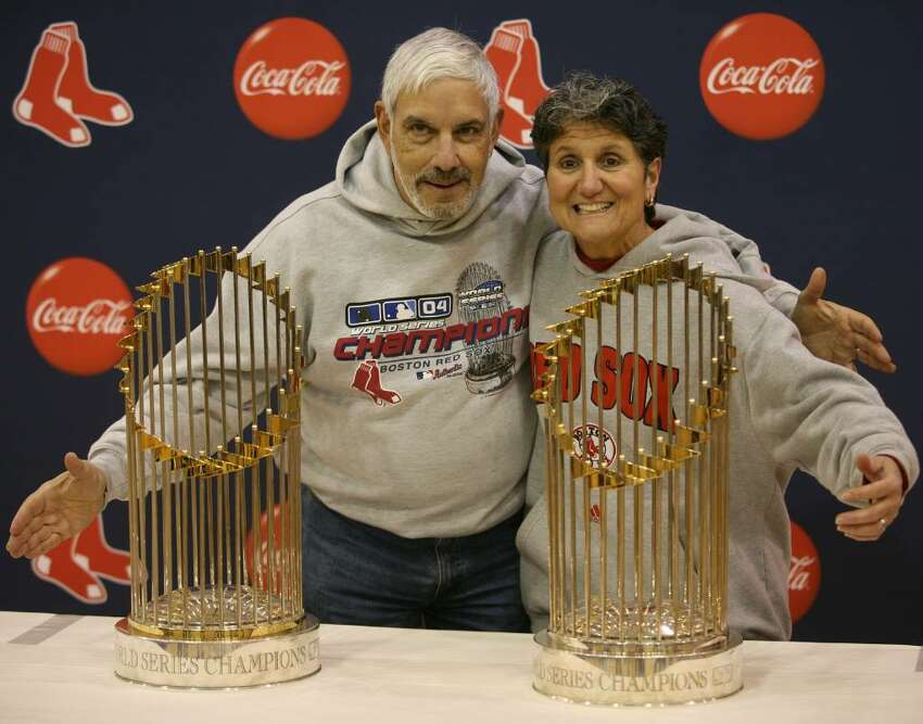 The two Red Sox world championship trophies on display at the Parsons Complex gymnasium in Milford on Wednesday, January 20, 2010.