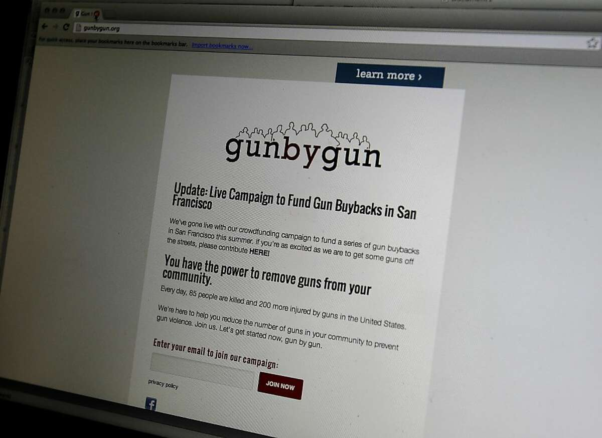 The website developed to help promote the buy back events is called gunbygun. Ian Johnstone, who lost his father to gun violence, and Eric King are organizing one of the nation's first gun buybacks funded through crowd sourcing in San Francisco, Calif.