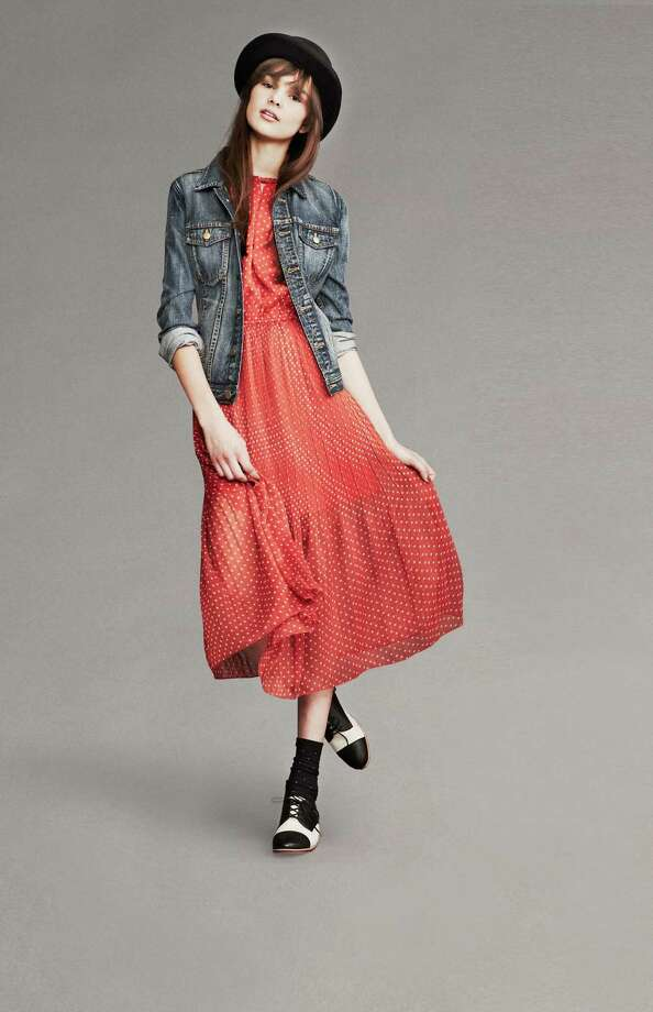 A feminine frock gets some edge with a denim jacket and tomboy cool accessories of  a fedora and tuxedo oxfords with a cap toe. Photo: Photos Courtesy Macy's