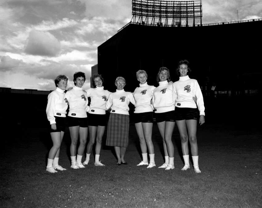 Members of the Cleveland Browns' cheerleading sqaud, the Brownettes, in 1959.
