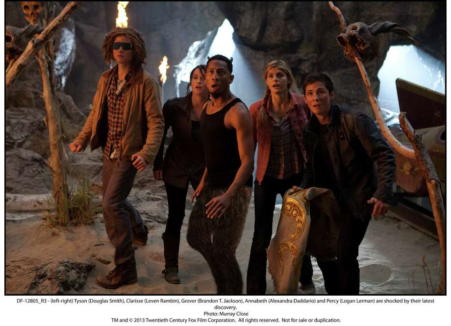 PERCY JACKSON: SEA OF MONSTERS - (left-right) Tyson (Douglas Smith), Clarisse (Leven Rambin), Grover (Brandon T. Jackson), Annabeth (Alexandra Daddario) and Percy (Logan Lerman) are shocked by their latest discovery. (Photo by Murray Close) Photo: Murray Close / ONLINE_YES