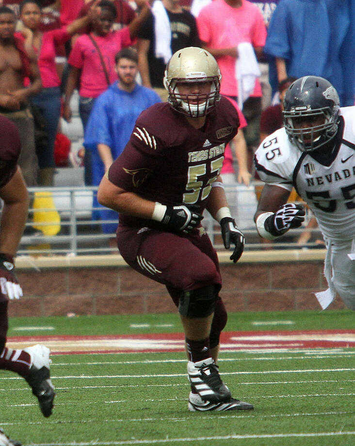 During Devin Baker's (center) first season at Texas State, he recorded 11 pancake blocks and was rated 80 percent or better in five of the seven games played. Photo: Courtesy Photo