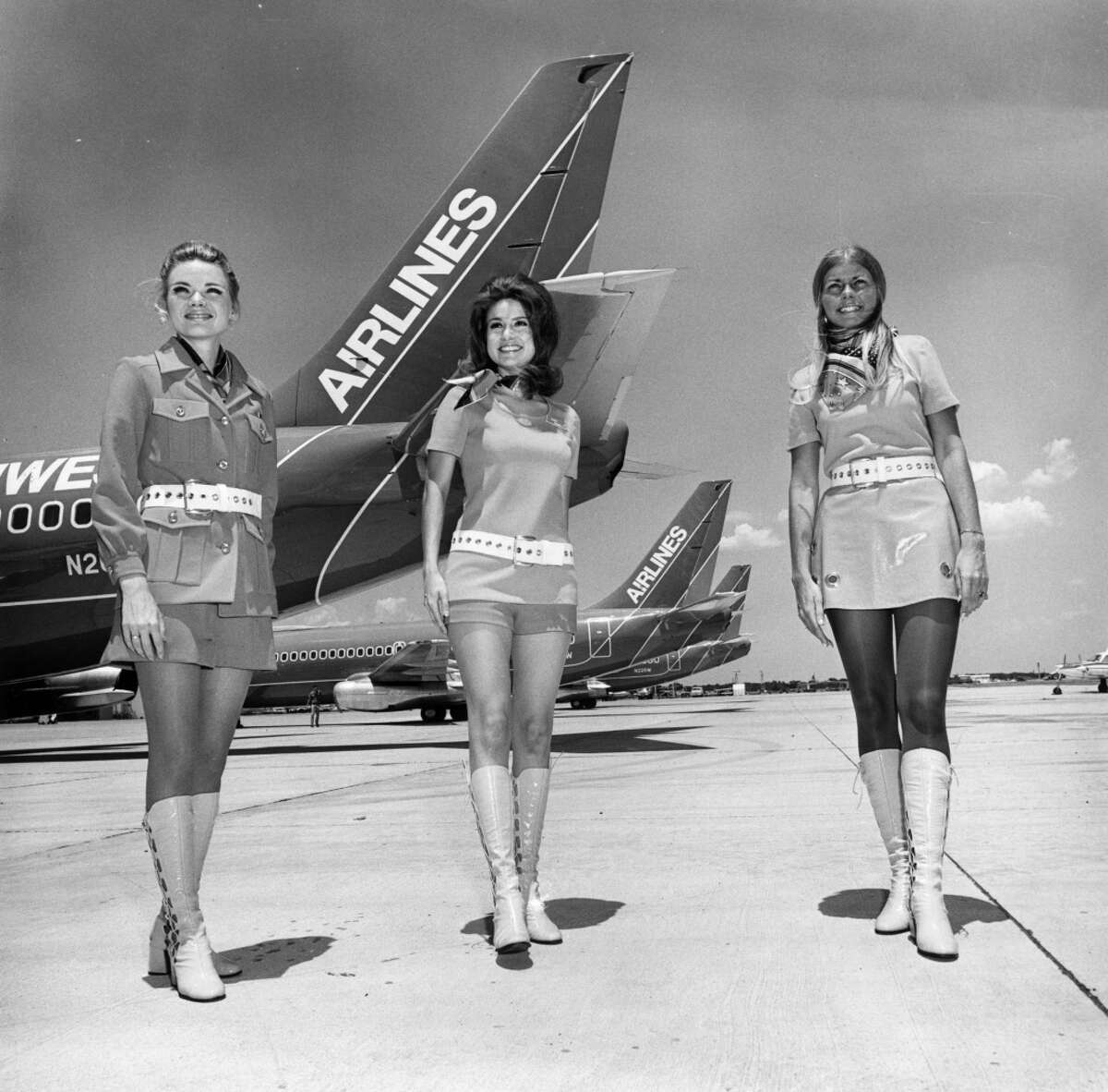 Flight attendants for Southwest Airlines are shown in this 1968 file photo.The low-cost carrier that started when its founders drew a triangle connecting Dallas, Houston and San Antonio on a cocktail napkin and has evolved into one of the leading domestic carriers.