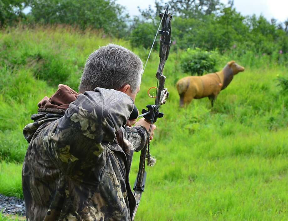 Robin hoodie:Robin Leatherman shoots a foam rubber elk on the Alaska Department of Fish and Game's archery proficiency course in Kodiak. Leatherman plans to hunt moose later this month near Wasilla and needed the certification to participate. Photo: James Brooks, Associated Press