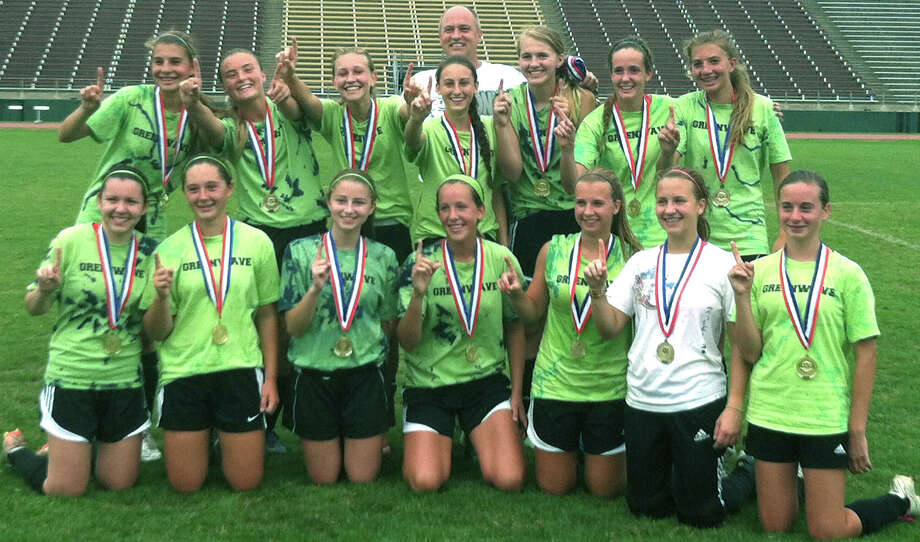 The Green Wave U-18 girls' soccer side captured gold last week at the state Nutmeg Games. Lending their talents were, from left to right, front row, Jenna Jonke, Kirsten Potts, Hayley Kozar, Caroline Kelly, Sarah Stratton, Sam Morvasky and Bridget Humphreys. Absent is Christine Habjan, and, second row, Saige Grazia, Julia Trocchio, Jenna Barron, Monica Baxter, Caitlyn DeFalco, Rachel Weir and Sierra Grazia. Coach Brooke Baxter is standing in back.  Courtesy of Shari Barron Photo: Contributed Photo