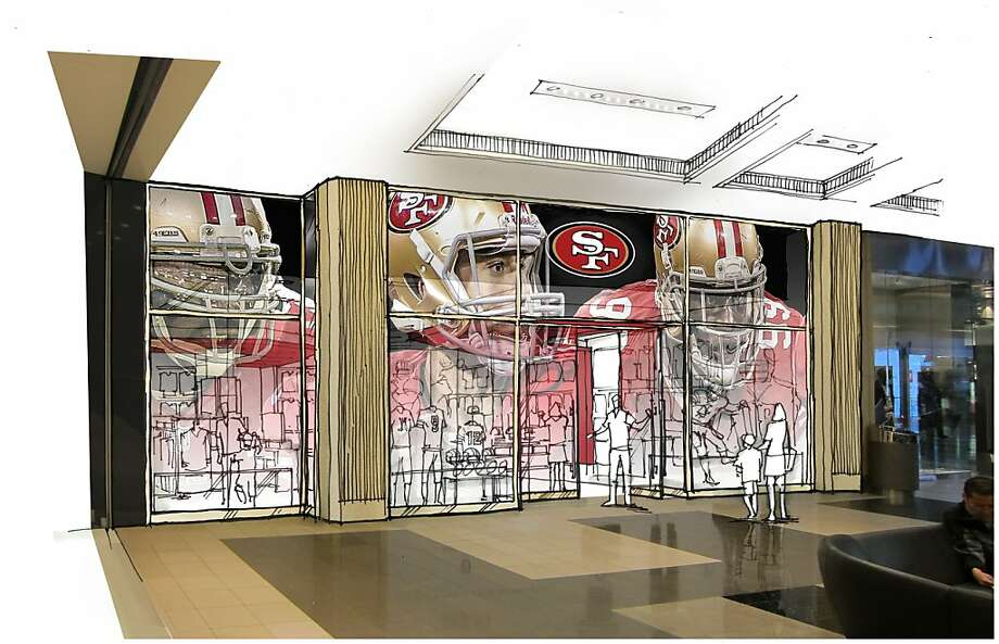 A rendering shows the front of the planned 49ers Team Store at Westfield San Francisco Centre, which is due to open next month near Bloomingdale's. Photo: Courtesy Of Westfield Group, Westfield Group