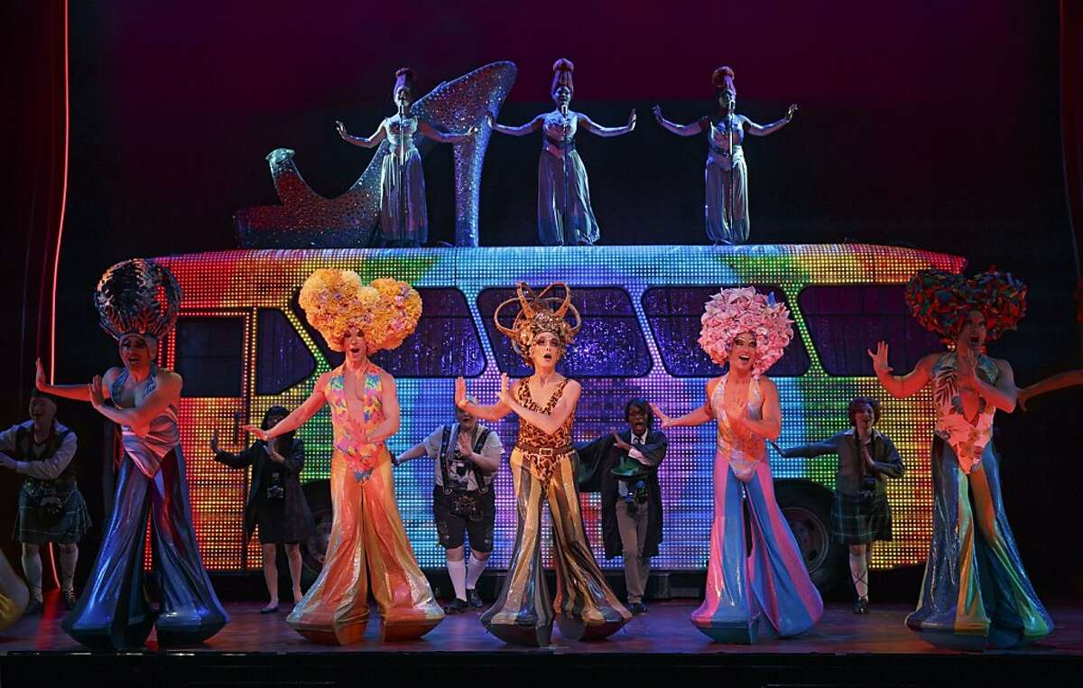 """Wade McCollum (left), Scott Willis (center), Bryan West and company perform the number """"I Will Survive"""" in the Broadway touring company of """"Priscilla Queen of the Desert: The Musical,"""" part of the SHN season at the Orpheum Theatre through Aug. 31. Photo by Joan Marcus"""