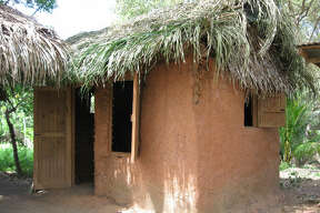 Traditional Garifuna thatched roof hut.