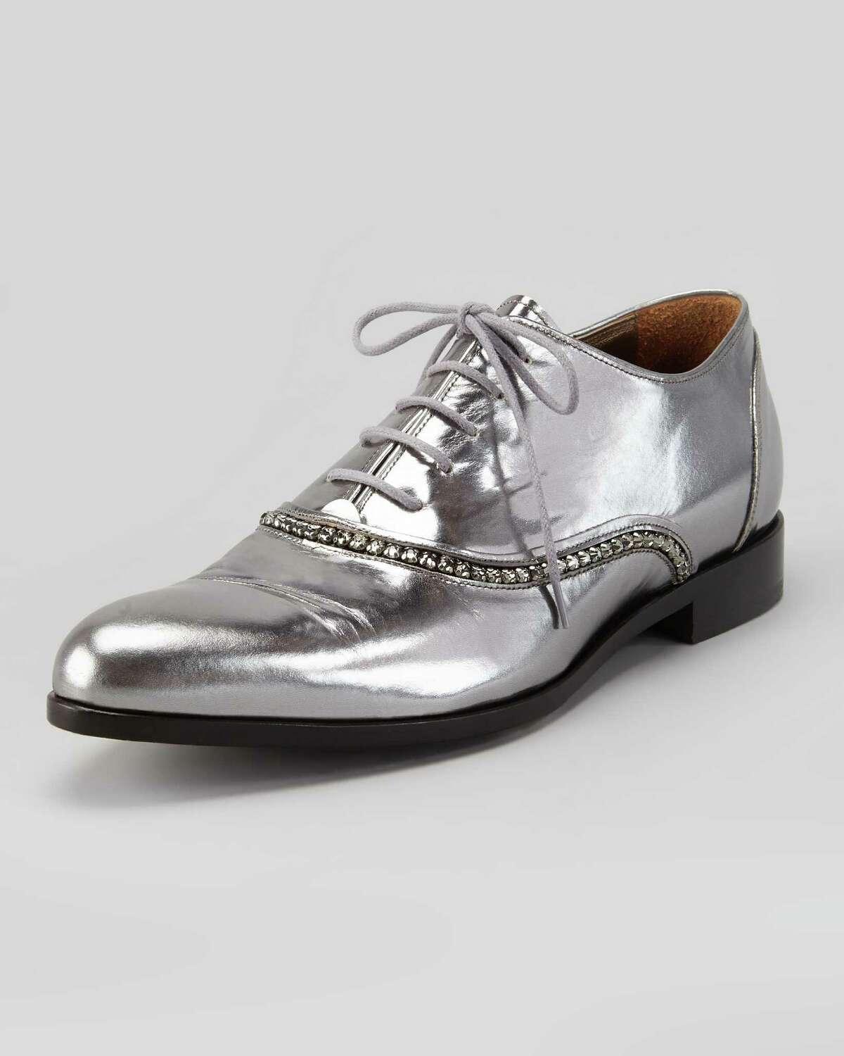 METALLIC MADNESS: Lanvin's silver lace up, $1,150 at Neiman Marcus, gives women a touch of menswear for women.