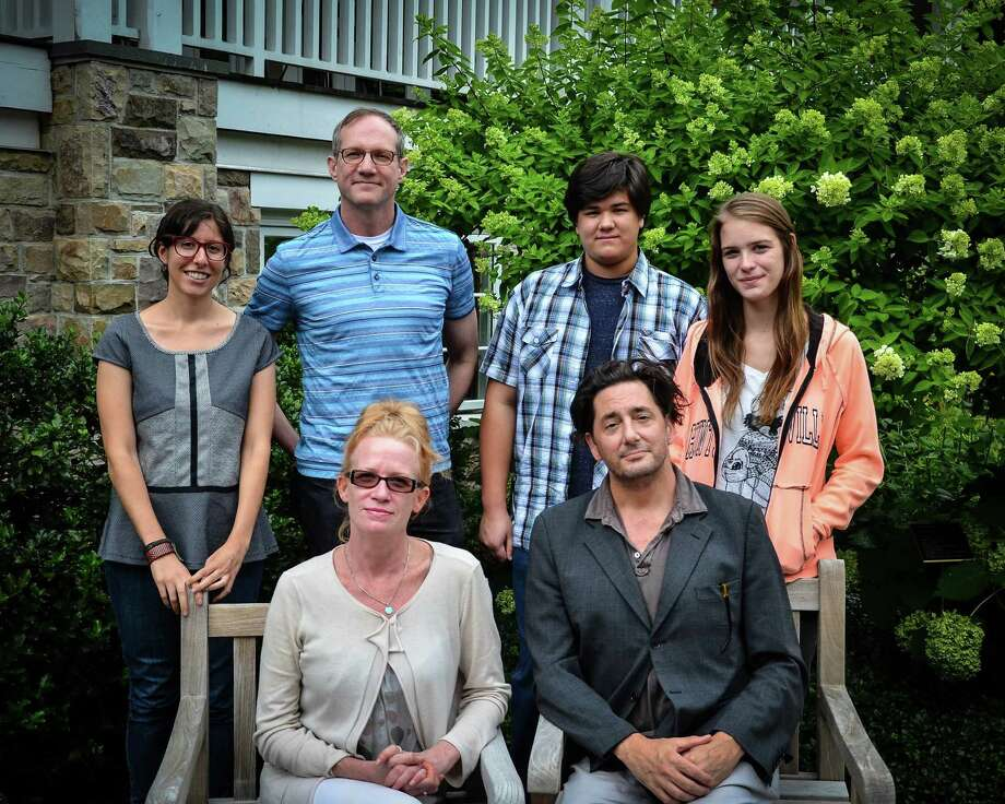 """Westport Country Playhouse is presenting the world premiere of """"Oblivion"""" from Tuesday, August 20 through Sept. 8. Gathering before a recent rehearsal were (standing, left to right) playwright Carly Mensch, director Mark Brokaw, cast members Aidan Kunze, Katie Broad; seated, Johanna Day, Reg Rogers. Photo: Contributed Photo"""