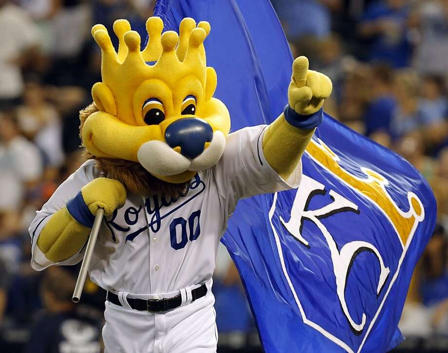 From afar, there's nothing really objectionable about the Kansas City Royals' mascot. But up close, you notice the anatomical nightmare that is a head formed into a crown. Photo: Orlin Wagner, Associated Press