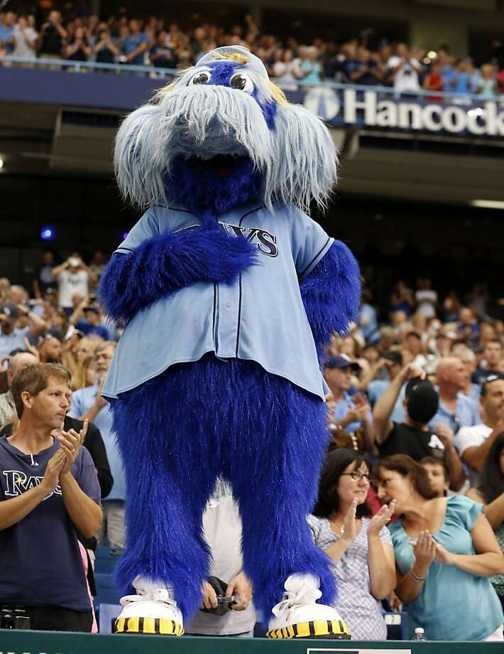 With the heat and humidity in Tampa Bay, the Rays' mascot must maintain a wide berth around fans. Photo: Mike Carlson, Associated Press