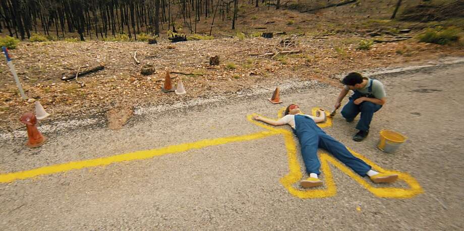 """In """"Prince Avalanche,"""" Lance (Emile Hirsch) and his sister's boyfriend, Alvin (Paul Rudd), are painting lines on Texas roads during the summer of 1988 when they start to get on each other's nerves. Photo: Magnolia Pictures, New York Times"""