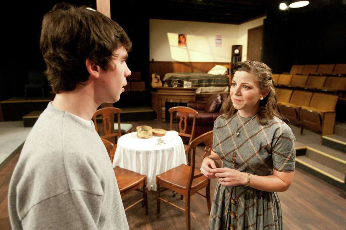 """Tom (Jacob Perkel) is comforted by Laura (Joanna Hubbard) in the Back Porch Players production of """"Tea and Sympathy."""""""