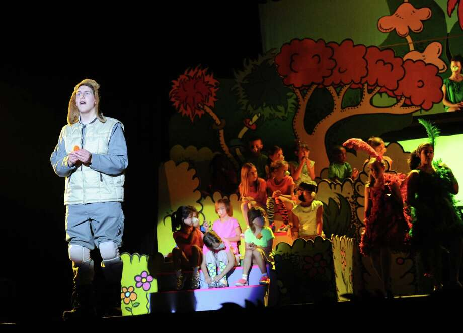 Kyle Watkins, playing Horton the elephant, acts out a scene during the dress rehearsal of Seussical at Newtown High School in Newtown, Conn. on Wednesday, August 7, 2013.  The performance, presented by the 1214 Foundation, features Broadway actor John Tartaglia and over 80 students from the Newtown area.  Shows will be Friday, Aug. 9 at 7 p.m., Saturday at 2 p.m. and 7 p.m., and Sunday at 2 p.m. Photo: Tyler Sizemore / The News-Times