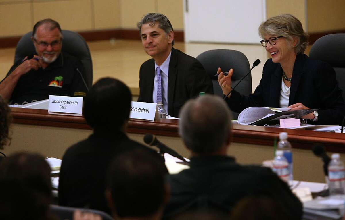 Robert Balgenorth (left) , chair Jacob Appelsmith (middle), and Micki Callahan (right) are the panel holding a hearing to get more details about BART and its negotiations with its union in Oakland, Calif., on Wednesday, August 7, 2013.