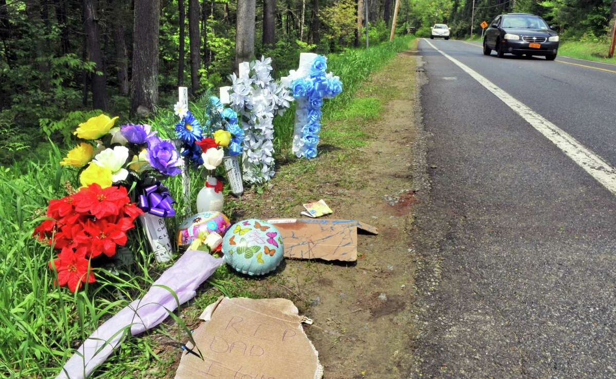 A roadside memorial Tuesday afternoon May 24, 2011, marks the scene where Chad Finch was fatally struck by a vehicle driven by Brian Beardsley, an off-duty state trooper, early Sunday morning along County Route 110 in Broadalbin, N.Y. (John Carl D'Annibale / Times Union)
