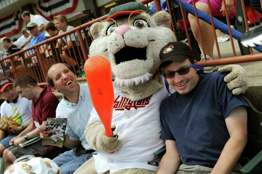 ValleyCats mascot Pappy, center, jokes with Ryan Nickel, left, and Jay Birnbach during the Tri-City ValleyCats game Wednesday, Aug. 7, 2013, at Bruno Stadium in Troy N.Y. The friends were attending Camp Day with the Wildwood Day Program, for adults with disabilities, from Colonie. (Cindy Schultz / Times Union) Photo: Cindy Schultz / 10023387A