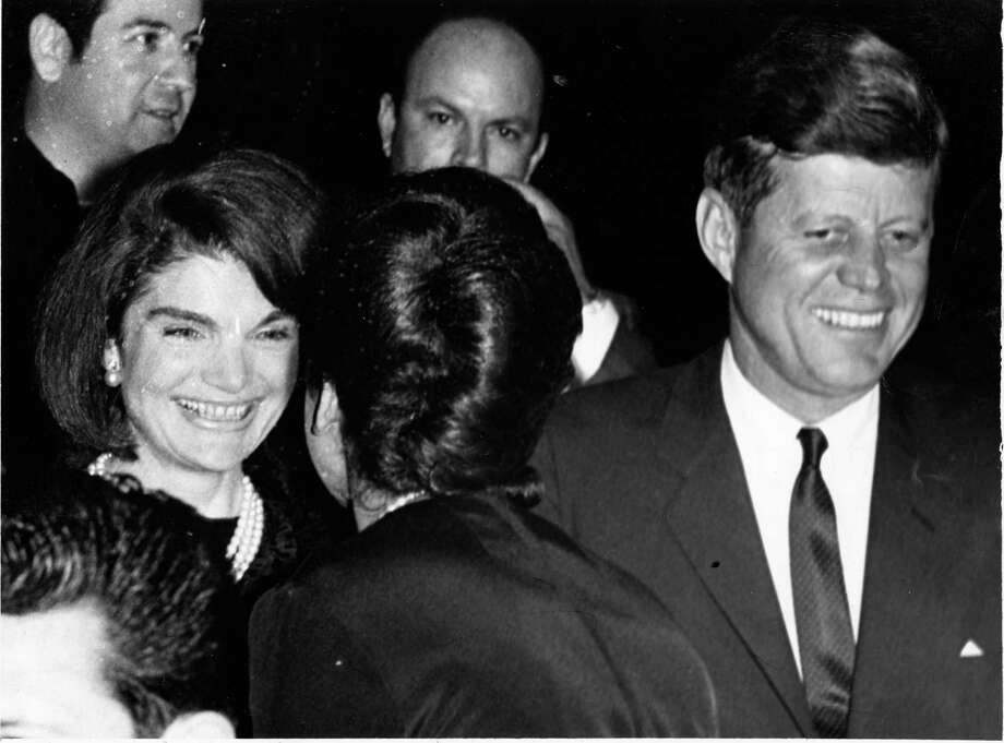 11/21/1963 - President John F. Kennedy and First Lady Jacqueline Kennedy greet attendees at the LULAC meeting at the Rice Hotel. Photo: Houston Chronicle