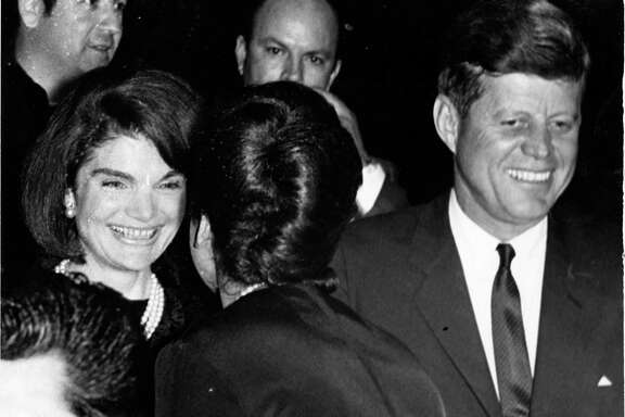 11/21/1963 - President John F. Kennedy and First Lady Jacqueline Kennedy greet attendees at the LULAC meeting at the Rice Hotel.