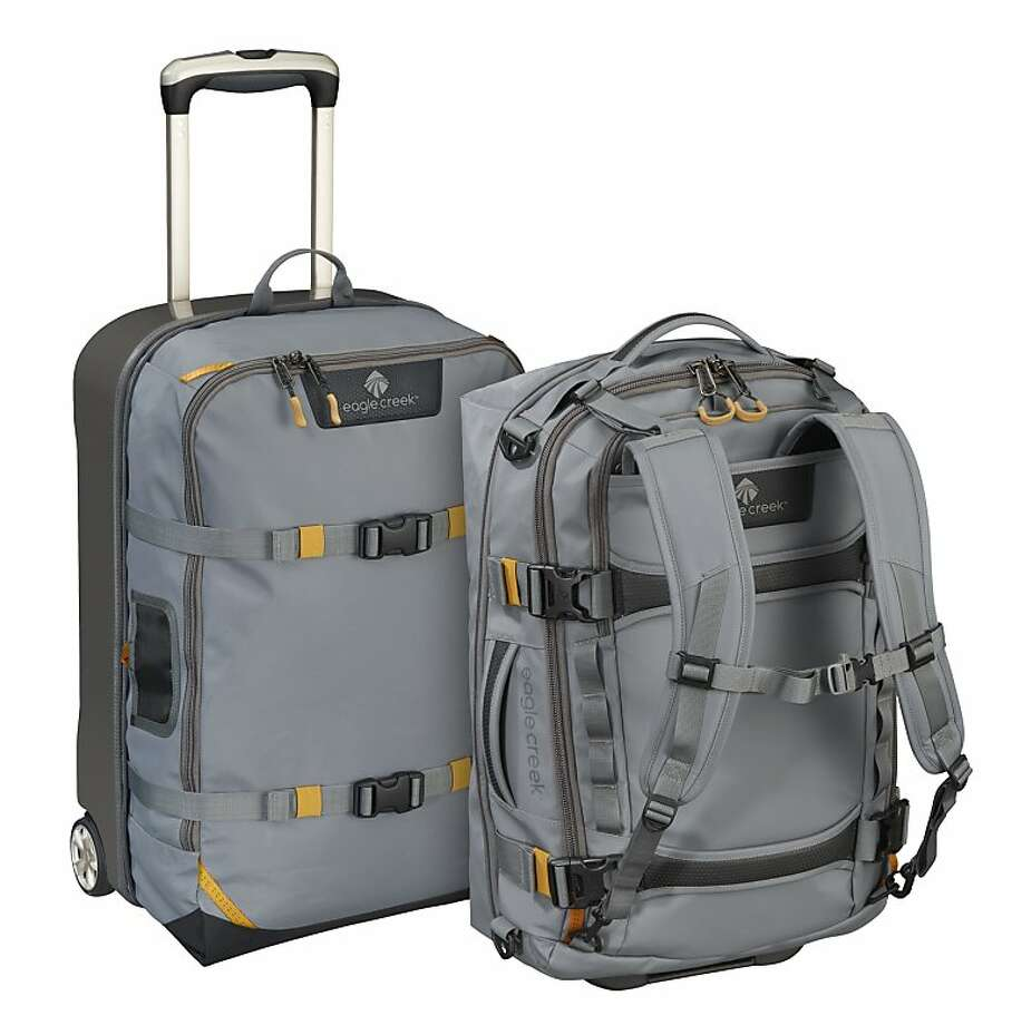 The Morphus convertible/expandable roller-bag/backpack is a half hard-shell carry-on (regulation 22 inches in height) that allows you to zip out the integrated backpack (with padded laptop pocket and zipped pouches) then expand the fabric of the suitcase to create another full-sized rollerbag. Photo: Eagle Creek