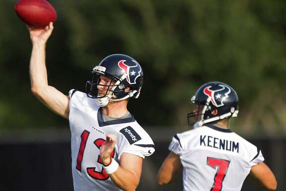 Third-year pro T.J. Yates, left, has the edge on Case Keenum in NFL game experience as they vie for the backup quaterback role during the Texans' four preseason games, beginning Friday night in Minnesota.