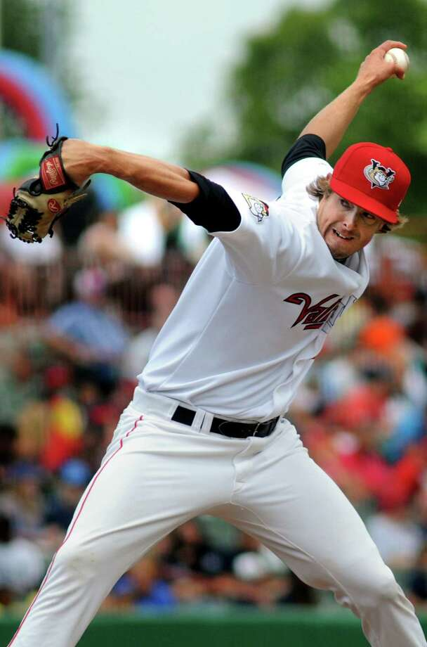 Tri-City ValleyCats' J.D. Osborne winds up a pitch against the Williamsport Crosscutters Wednesday, Aug. 7, 2013, at Bruno Stadium in Troy N.Y. (Cindy Schultz / Times Union) Photo: Cindy Schultz / 10023387A