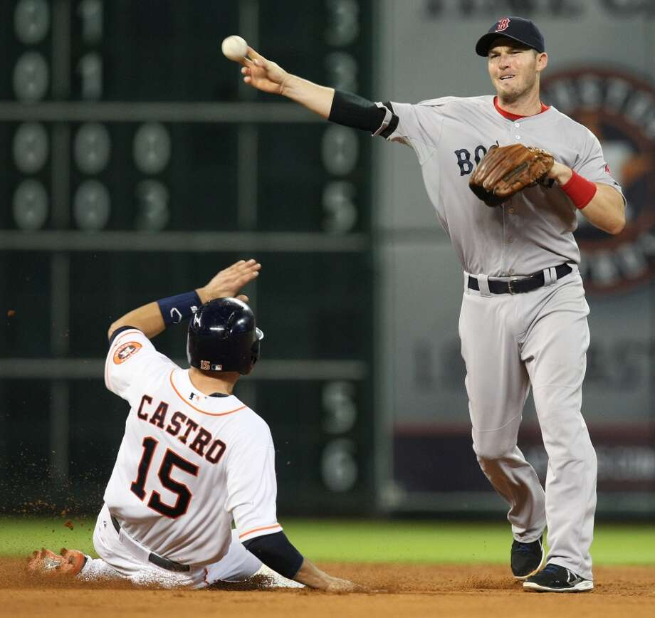 Astros catcher Jason Castro is forced out by Red Sox shortstop Stephen Drew. Photo: Johnny Hanson, Houston Chronicle