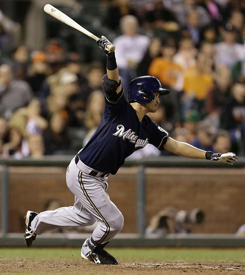 Milwaukee Brewers' Norichika Aoki, of Japan, swings for a two run single off San Francisco Giants' Santiago Casilla in the eighth inning of a baseball game Wednesday, Aug. 7, 2013, in San Francisco. (AP Photo/Ben Margot) Photo: Ben Margot, Associated Press