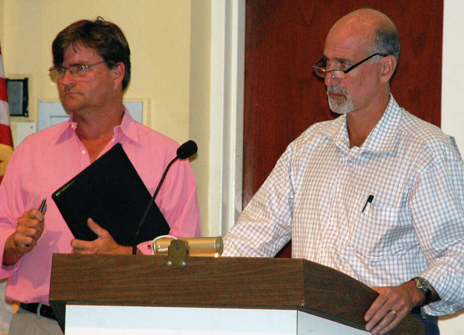 Parks and Recreation Director Stuart McCarthy, left, and Andy Moss, chairman of the Parks and Recreation Commission, answer questions about a Compo Beach master plan from Board of Finance members Wednesday.  WESTPORT NEWS, CT 8/7/13 Photo: Jarret Liotta / Westport News contributed