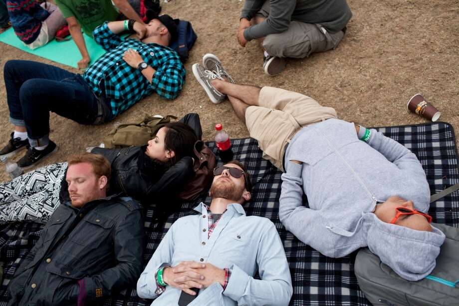 BAG IT. A sleeping bag may just be your most versatile accessory, allowing you to nap, stay warm and even enjoy a picnic. Photo: Jason Henry, Special To The Chronicle