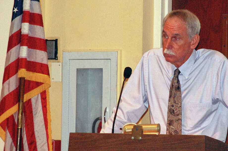 Steve Edwards, the public works director, on Wednesday updates the Board of Finance on town plans to hire a new tree warden.  WESTPORT NEWS, CT 8/7/13 Photo: Jarret Liotta / Westport News contributed
