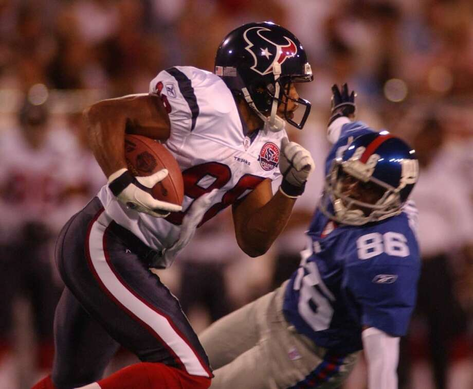 2002  Aug. 5: Giants 34, Texans 17  The first exhibition contest in franchise history came in the Hall of Fame game in Canton, Ohio. Avion Black's 71-yard punt return was one of the highlights for Houston in the loss. Photo: Christobal Perez, Houston Chronicle