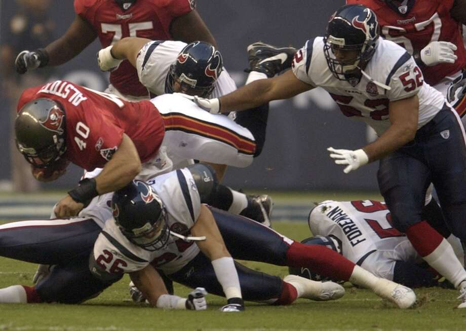 2002Aug. 30: Buccaneers 17, Texans 13David Carr's early exit in the second quarter left coaches and fans alike saying prayers, but the No. 1 pick and starting QB for the Texans escaped with only a bruised right knee and was able to play in the season opener a week later.2002 preseason record: 1-4 Photo: Smiley N. Pool, Houston Chronicle