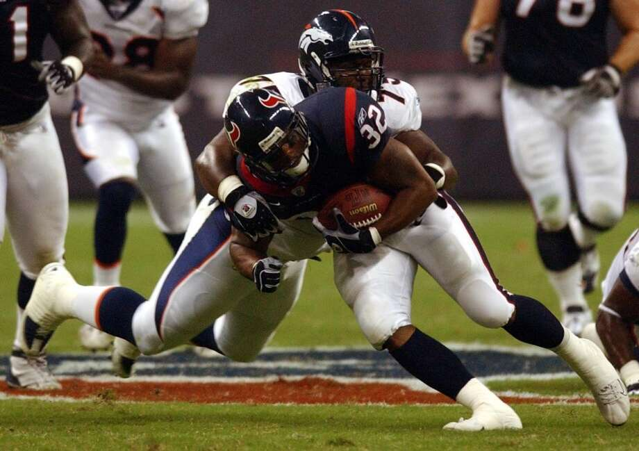 2003  Aug. 9: Broncos 20, Texans 12  Gray Kubiak's Broncos came to Houston and kept the Texans out of the endzone in the 2003 preseason opener. The Broncos would go on to win 10 games and make the playoffs while the Texans lost 11 games. Photo: Christobal Perez, Houston Chronicle