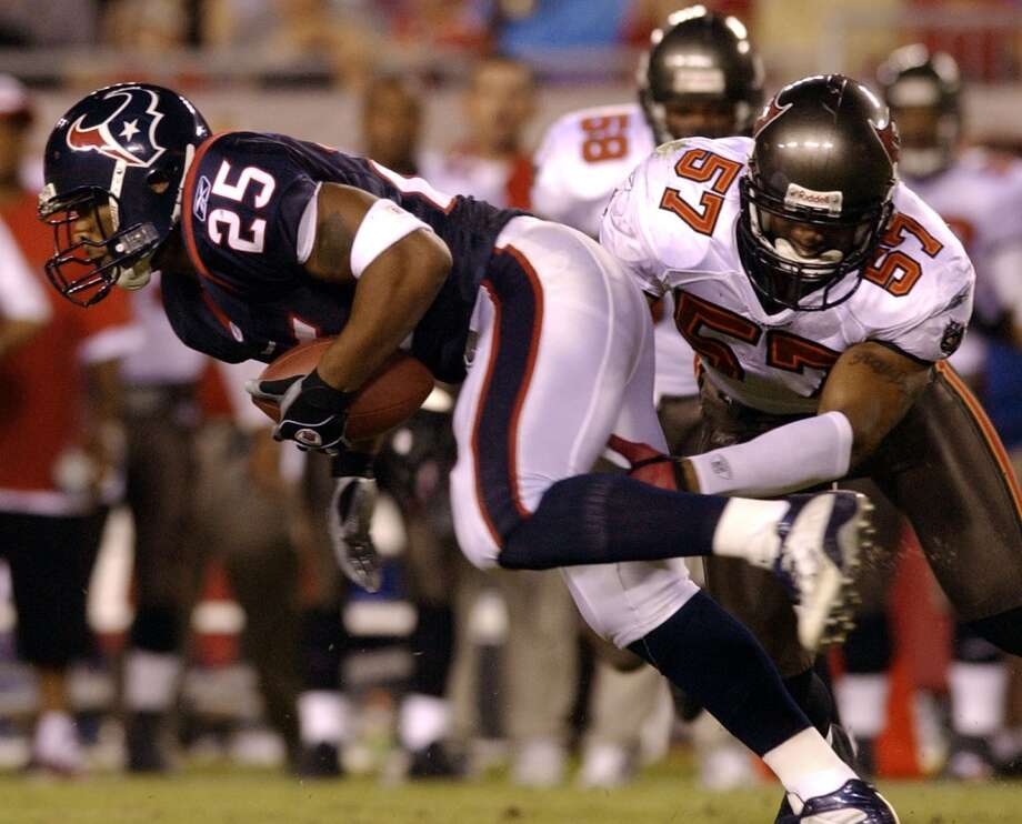 2003  Aug. 28: Buccaneers 34, Texans 3  Houston ended this win-less preseason with a beat down by the returning Super Bowl champion Buccaneers. Houston could muster only 47 yards and two first downs in the opening half.  2003 preseason record: 0-4 Photo: Christobal Perez, Houston Chronicle