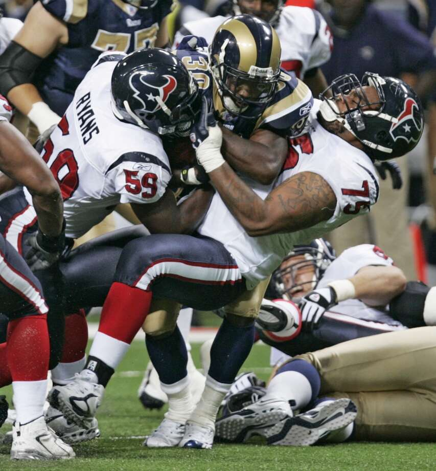 2006  Aug. 19: Texans 27, Rams 20  A 44-yard touchdown connection between Sage Rosenfels and Derrick Lewis gave Houston the cushion it needed over St. Louis. Photo: Brett Coomer, Houston Chronicle