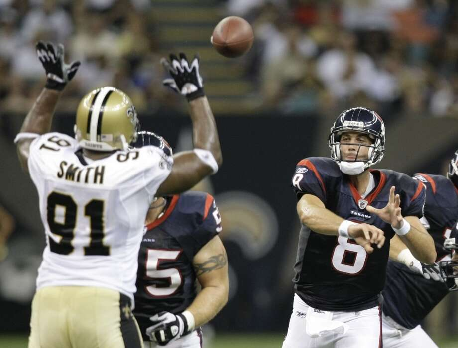 2008  Aug. 16: Texans 31, Saints 27  A 10-yard touchdown rush from Steve Slaton put the Texans ahead for good in the fourth quarter. Photo: Brett Coomer, Houston Chronicle