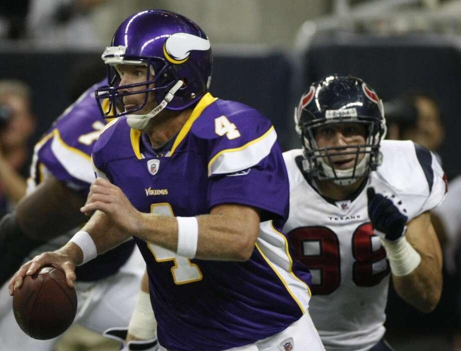 2009Aug. 31: Vikings 17, Texans 10Minnesota running back Adrian Peterson had 117 yards while Houston's offense struggled. Photo: Nick De La Torre, Houston Chronicle