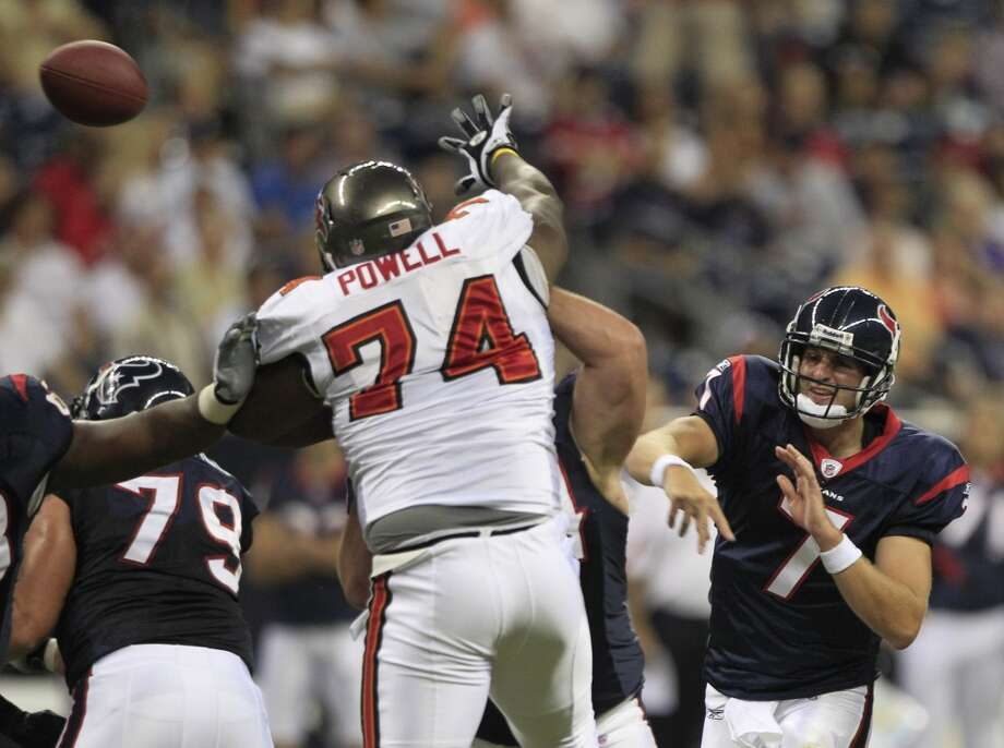 2010Sept. 2: Buccaneers 24, Texans 172010 preseason record: 1-3By not scoring until the second half, the Texans were doomed by the offense's late start. Photo: Brett Coomer, Houston Chronicle